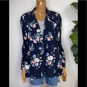 Lila Rose Navy blue Blossom Floral Print Blazer